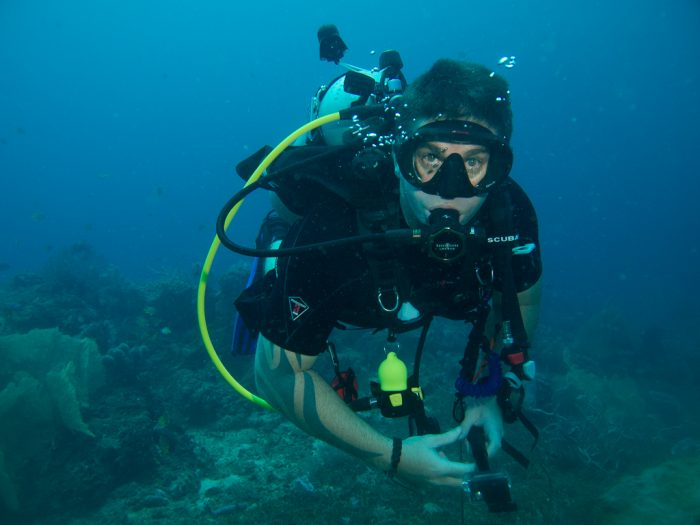 Wade from Club Nomad diving at Napoleon Reef