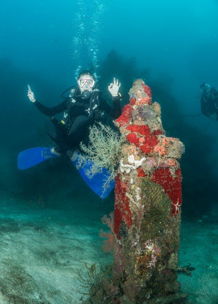Temple Garden, Pemuteran, Bali, Indonesia, underwater statue